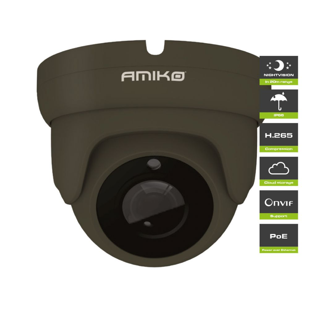 Amiko D20M500B Dark Grey POE - Full HD 1080P - 5MP - Dome Camera