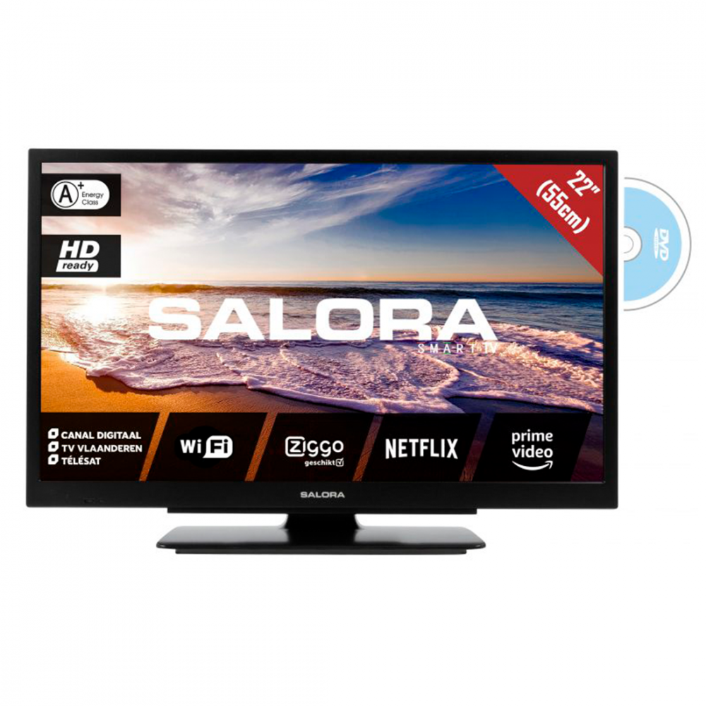 "Salora 22"" Smart Travel TV - 12/230 volt - WiFi - DVD"